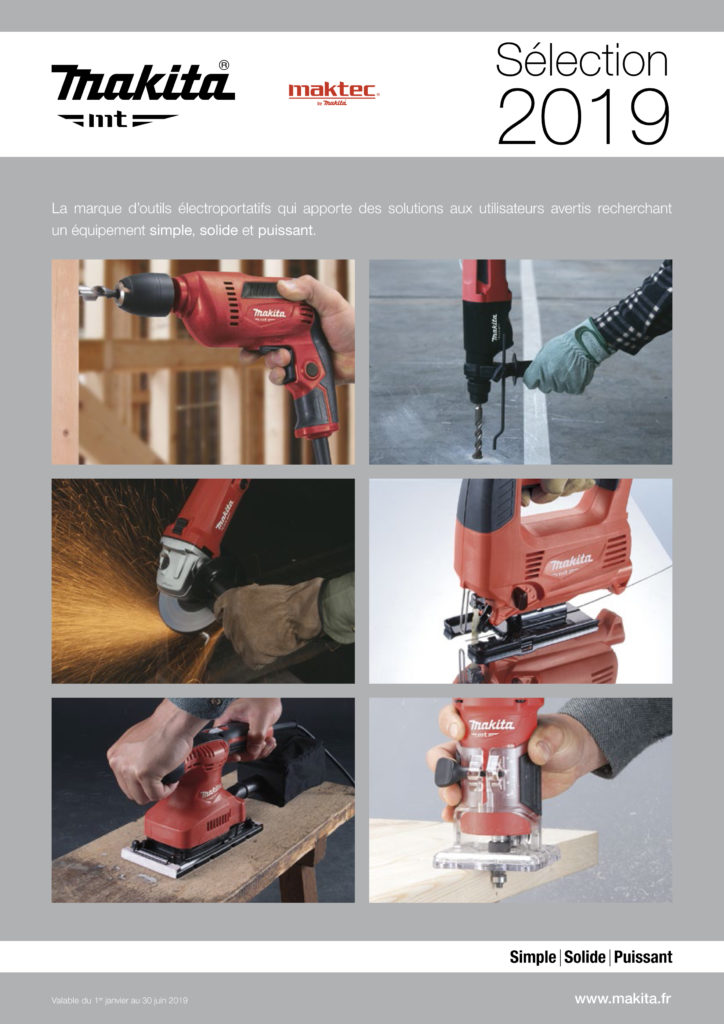 catalogue makita mt 2019 electroportatif discount qualité professionnelle.